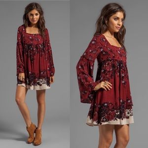 Free People Modern Chinoiserie Dress  in Merlot S